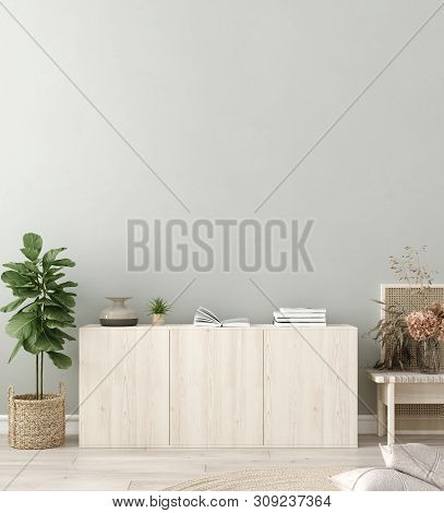 Wall Mock In Living Room Interior. Interior Scandinavian Style. 3d Illustration