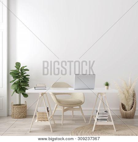 Poster Mock Up In Home Interior Background, Home Office, Scandi-boho Style, 3d Illustration