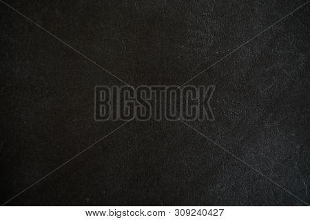 Genuine Black Cowhide Leather Background