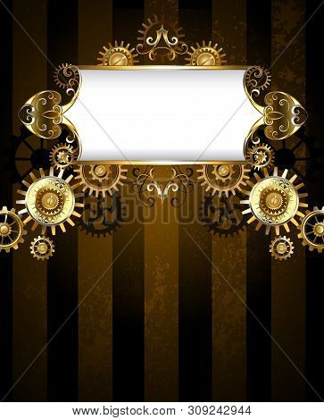 Vintage Banner With A Gold Pattern On A Dark Striped Background With Gold And Bronze Gears. Steampun