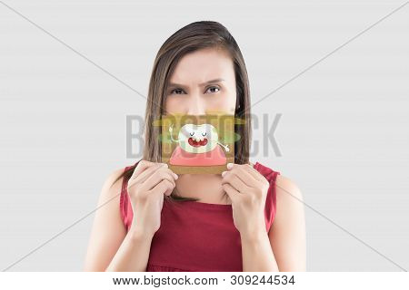 Asian Woman In The Red Shirt Holding A Brown Paper With The Yellow Teeth Cartoon Picture Of His Mout