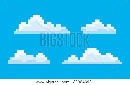 Pixel Art Game Icons Vector, Isolated Bit Cloud. Pixelated Cloudscape Blue Sky With Smoke, Elements