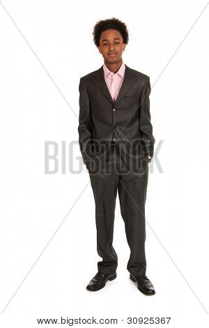 Young black business man standing in studio