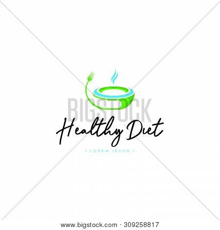 Healthy Diet Logo Template Vector On Isolated White Background