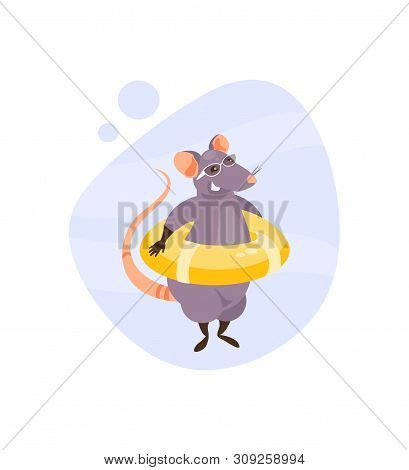 Cartoon Rat With A Life Preserver On Vacation. Vector Illustration