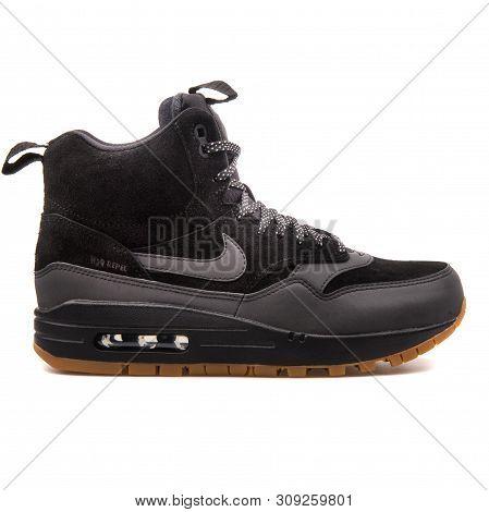 VIENNA, AUSTRIA AUGUST 7, 2017: Nike Air Force 1 07 LV8 black,..