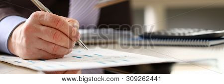 Financial Bank Consultant Accounting Annual Budget. Businessman Calculate Trade Expenses And Profit