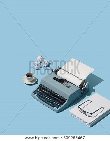 Vintage Typewriter Header And Blank Sheets