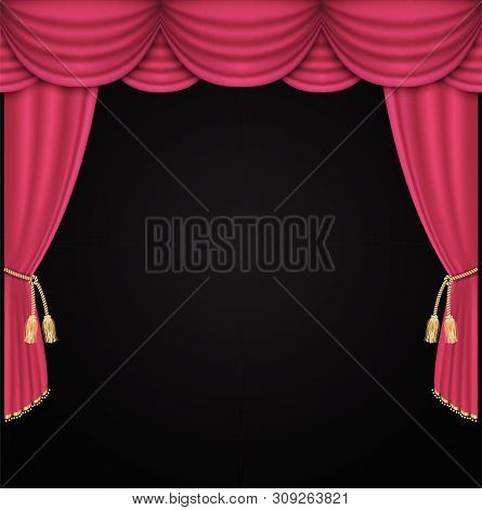 Curtain Vector Realistic Illustration For Promotion Background