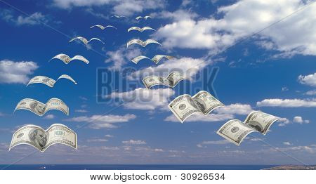 Flock Of $100 Banknotes In The Sky.