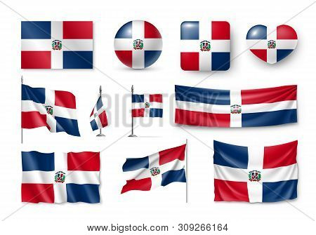 Various Flags Of Dominican Republic Caribbean Country Set. Realistic Waving National Flag On Pole, T