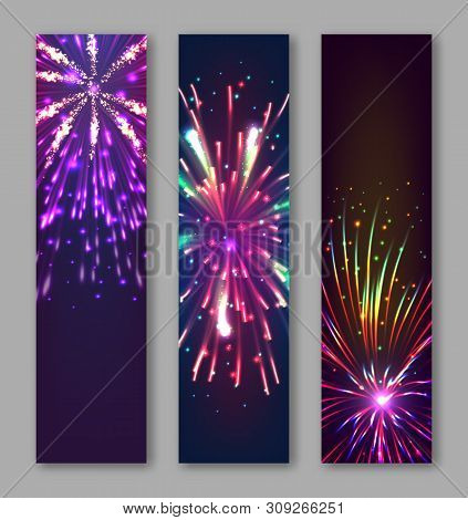 Happy New Year Vertical Flyers With Bursting Fireworks Series. Festive Template With Copyspace. Real