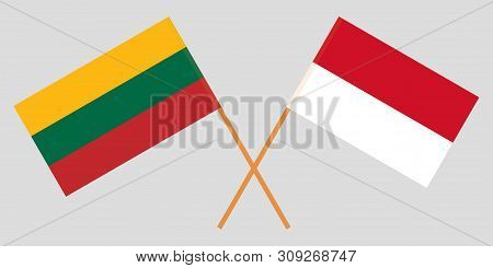 Indonesia And Lithuania. The Indonesian And Lithuanian Flags. Official Colors. Correct Proportion. V