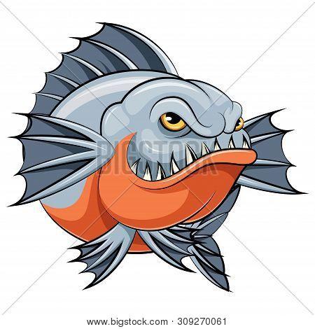 Illustration Of A Cartoon Angry Piranha Fish Mascot