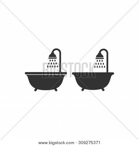 Shower Head With Water Droplets And A Bath Tub Black Vector Sign Set. Washroom, Bathroom Symbol, Gly