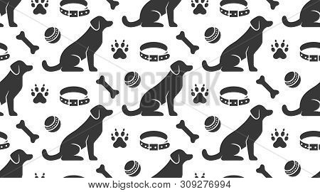 Pet Shop Vector Seamless Pattern With Flat Icons Of Sitting Dog, Collar, Paw, Toy Ball And Bone. Bla