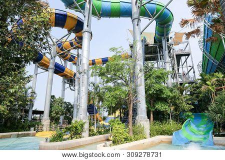 Hua Hin, Thailand - January 2018 : Vana Nava Waterpark Hua Hin At Hua Hin. Asia First Water Jungle P