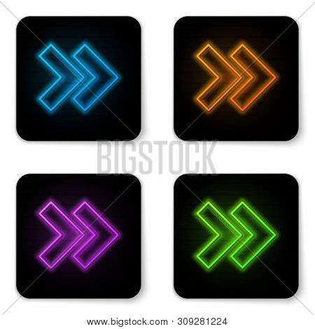 Glowing neon Arrow icon isolated on white background. Direction Arrowhead symbol. Navigation pointer sign. Black square button. Vector Illustration poster