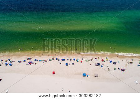 Aerial View Of Gulf Shores Beach On The Alabama Gulf Coast In June 2019