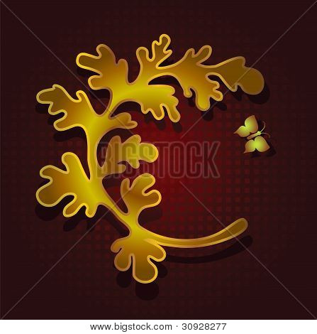 Banner design with leaf and butterfly