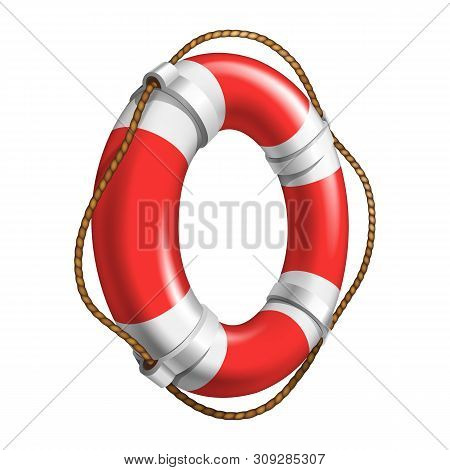 Red And White Flotation Ring Ship Device Vector. Emergency Classical Flotation Hoop With Cord Made O