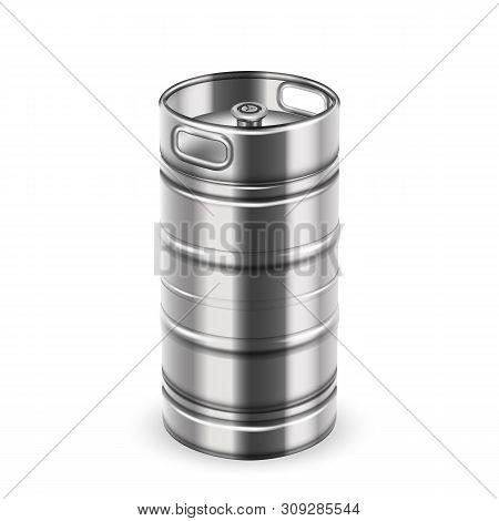 Tall Chrome Metallic Beverage Keg Barrel Vector. Blank Stainless Steel Keg For Bottling And Storage