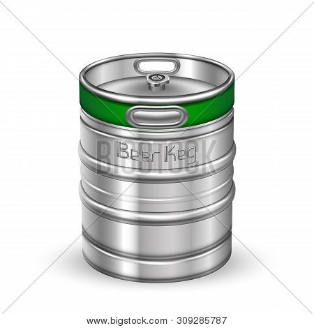 Classic Chrome Metallic Beer Keg Barrel Vector. Blank Standard Aluminum Keg For Delivery To Tavern A