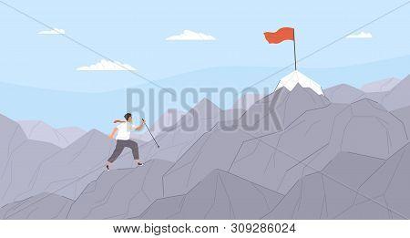 Man Travelling Through Mountain Ridge To Final Destination Point. Office Worker Climbing Up Cliffs.