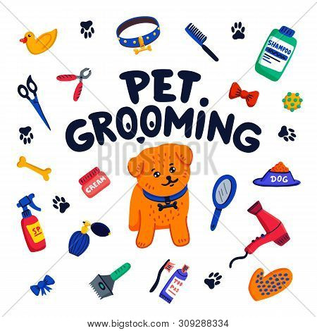 Pet Grooming Concept. Happy Little Dog, Pet Grooming Lettering And Goods For Grooming On White Backg