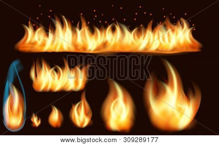 Fire Flame Realistic Set Of Burning Bonfires Isolated On Dark Background. Set Of Realistic Fire Flam