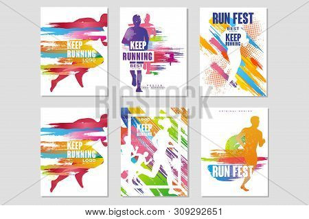 Run Fest Posters Set, Sport And Competition Concept, Running Marathon, Colorful Design Element For C