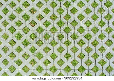 Geometric Background Of Eco Floor Bricks And Green Grass. Eco Parking Texture. Floor Stone Tile With