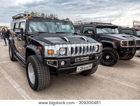 Samara, Russia - May 18, 2019: Black Luxury Cars Hummer Parking At The City Street In Samara, Russia