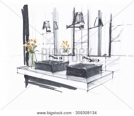 Handmade Sketch Of A Luxury Modern Bathroom, Two Sinks With Faucets And Mirror, Wall Mounted Lamps A