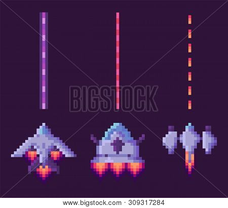 Spaceship Shooting, Explosion Of Object, Invaders And Cosmic Sign On Purple, Video And Pixel Game, R