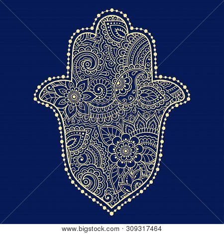 Color Hamsa Hand Drawn Symbol On Flower Ornament. Decorative Pattern In Oriental Style For The Inter