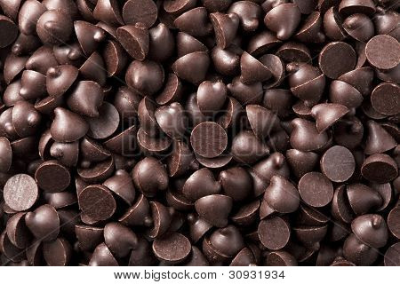 Chocolate chips that are laid in the background poster