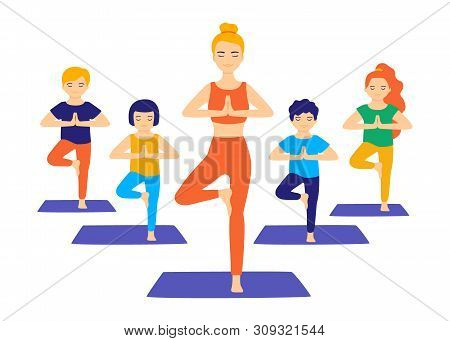 Group Yoga For Children. Teaching Children Yoga With The Help Of An Adult Instructor. Kids Do Yoga,