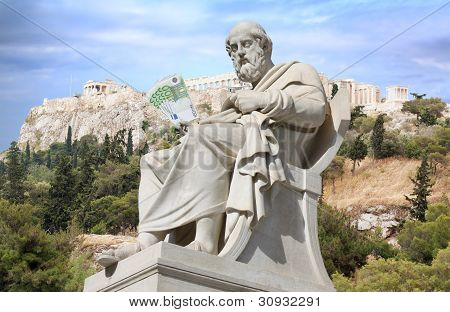Conceptual composite regarding Greece bailout and Greek financial crisis. Ancient Greek philosopher Plato (neoclassical 19th century statue by Leonidas Drosis located in Panepistimiou Street in the centre of Athens) is holding euro banknotes in his hand. poster