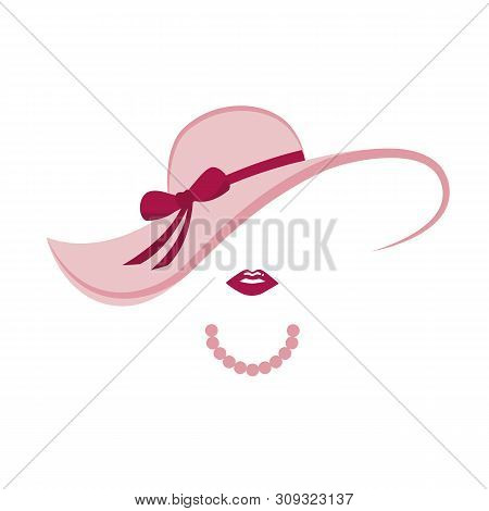 Stylized Lady With Pink Hat And Pearl Necklace Vector Illustration Eps10