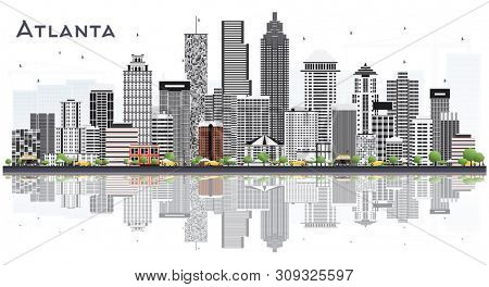 Atlanta Georgia USA City Skyline with Gray Buildings Isolated on White. Business Travel and Tourism Concept with Modern Buildings. Atlanta Cityscape with Landmarks.