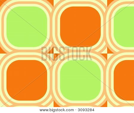 Op Art Scaled Rounded Circles Green Orange Yellow
