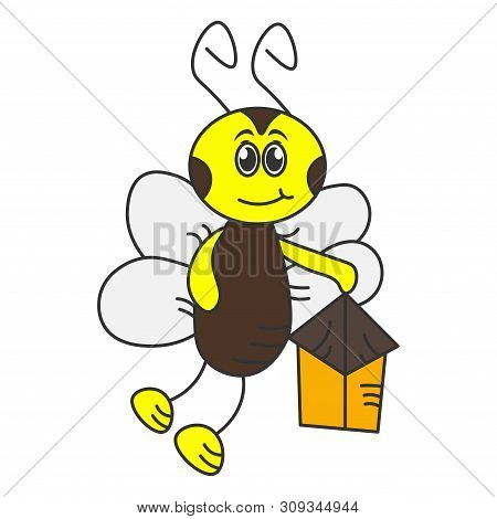 Happy Hornet With A Flashlight. Color Drawing. Vector Illustration