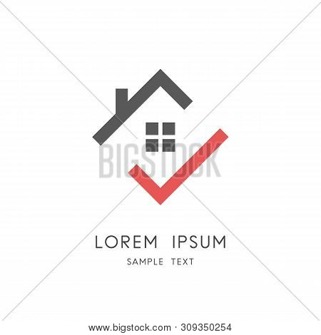 Home And Check Mark Logo - House Roof With Chimney And Window And Red Tick Symbol. Real Estate And R