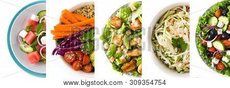 Collage Of Healthy Salad. Greek Salad, Pasta Salad, Caesar Salad, Watermelon Salad And Buddha Bowl