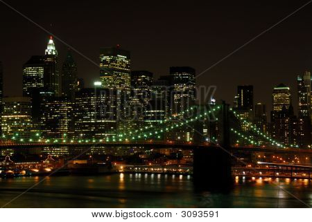 Brooklyn Bridge and Manhattan Skyline at Night New York poster