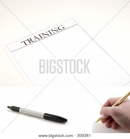 Training Paper - (marker And Hand With Pen Included To Be Pasted