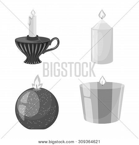Isolated Object Of Paraffin And Fire Sign. Set Of Paraffin And Decoration Stock Vector Illustration.
