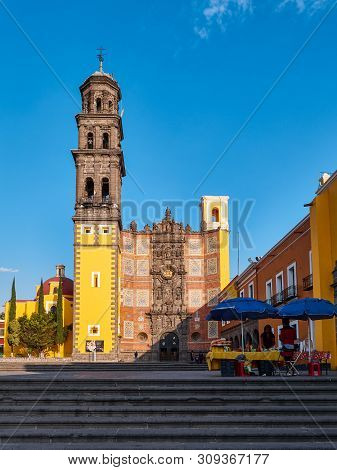 Puebla, Mexico, In March 20, 2019 - Old Baroque Religious Convent And Church St. Francisco De Asis W