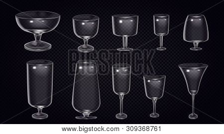 Set Of Cocktail Stemware And Glasses For Alcohol. Empty Glass Cup, Glass Wine Glass On Transparent B